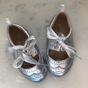Silver baby brogue shoes
